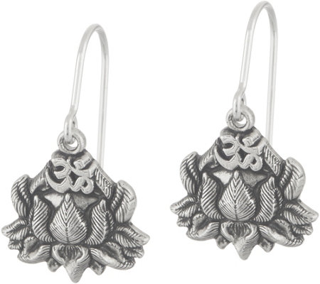 Alex and Ani Lotus Peace Petals Drop Earrings