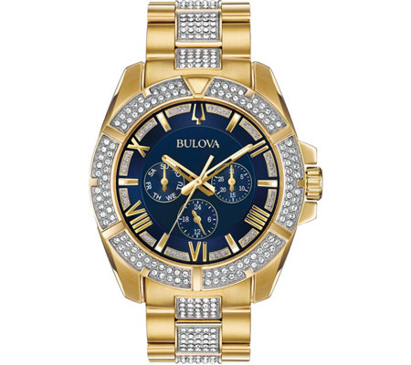 Bulova Men's Swarovski Crystal Blue Dial Watch