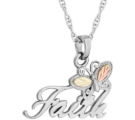 Black Hills Faith Pendant with Chain Sterling,12K Gold