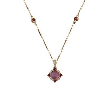 Judith Ripka 14K Mother-of-Pearl Doublet & Rhodolite Enhancer
