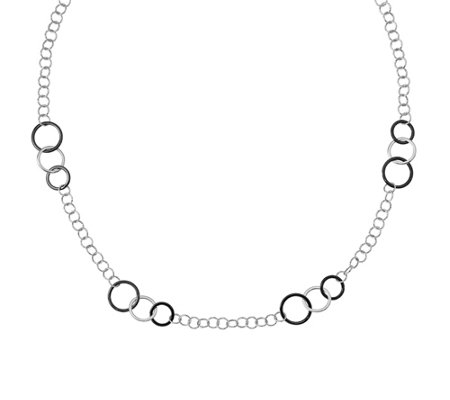 "Italian Gold 31"" Textured Circle Station Necklace 14K, 11.0g"