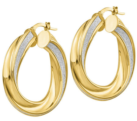 "Italian Gold 1-3/8"" Glimmer Twisted Hoop Earrings 14K, 6.9g"