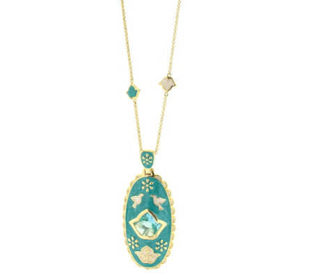 Lauren G Adams Goldtone Enamel Elongated Oval Pendant w/ Chain