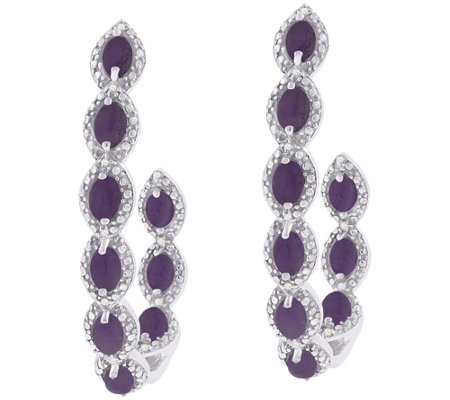 Platinum-Plated Sterling Purple Jade & White Zircon Earrings