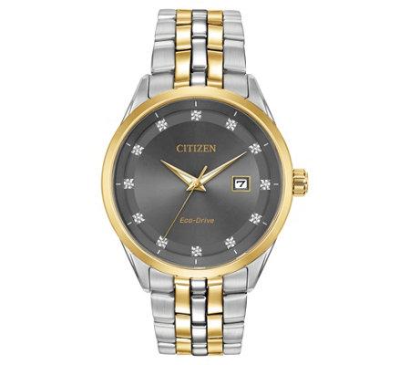 Citizen Men S Eco Drive Corso Diamond Accent Gray Dial Watch