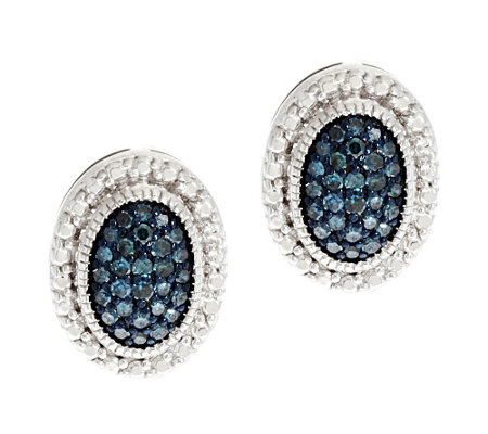 Pave Color Oval Diamond Earring Sterling, 1/4 cttw, by Affinity
