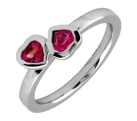 Simply Stacks Sterling & Created Ruby Double-Heart Ring