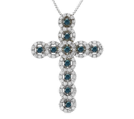 Diamond Cross Pendant, Sterling, 3/4 cttw, by Affinity