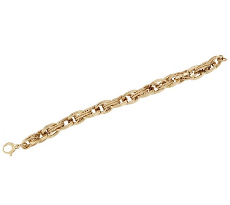 "VicenzaGold 8"" Polished & Textured Link Bracelet 14K Gold, 13.3g"