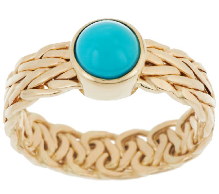 14K Gold Sleeping Beauty Turquoise Woven Wheat Design Ring