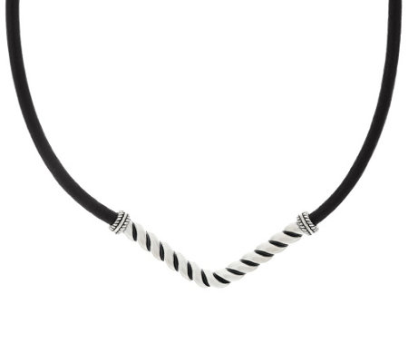 American West Sterling Silver and Leather Chevron Necklace