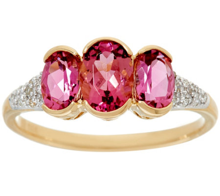 Pink Tourmaline & Diamond 3-Stone Ring 14K Gold 1.50 cttw