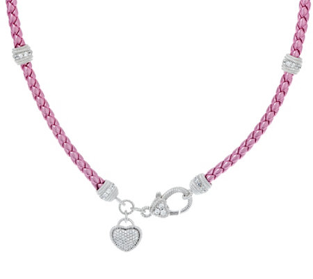 Judith Ripka Sterling Verona Braided Necklace with Heart Charm