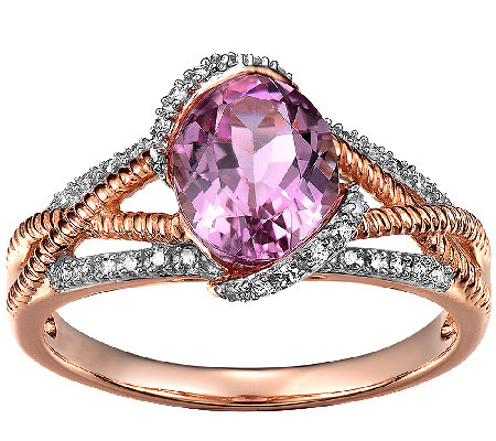 2.00cttw Kunzite & Diamond Accent Ring, 14K Rose Gold