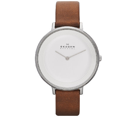 Skagen Women's White Dial Brown Leather Strap Watch