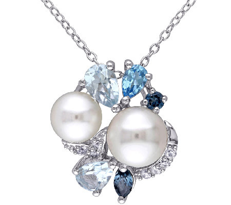 Sterling Blue Multi-Gemstone & Cultured Pearl Cluster Pendant