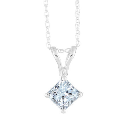 Affinity 3/4 ct Princess Cut Diamond Pendant,w/ Chain, 14K