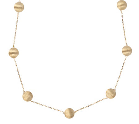 "Arte d'Oro 18"" Satin Bead Station Necklace, 18K9.9g"