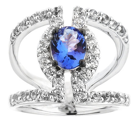 Sterling 3.00 cttw Tanzanite & White Zircon Ring
