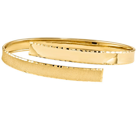 14K Gold Crossover Wrap Bangle, 8.2g