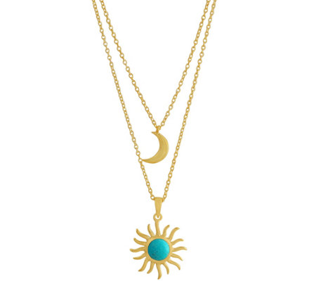 Sterling Sun & Moon Turquoise Layered Necklace