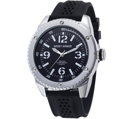 Wrist Armor C20 Watch with Black Faux Carbon Dial, Black Strap