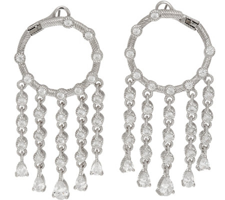 Judith Ripka Sterling Silver 4.15 cttw Diamonique Drop Hoop Earrings
