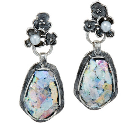 Or Paz Sterling Silver Roman Glass Floral Top Earrings