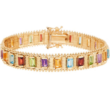 "Imperial Gold 7-1/4"" Multi-Gemstone Lame' Bracelet, 14K, 26.00g"