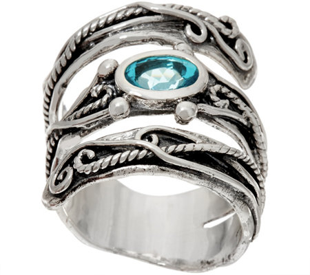 Or Paz Sterling Silver Coil Design with Gemstone Bypass Ring