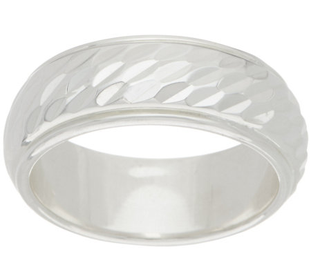 Sterling Silver Diamond Cut Inlay Band Ring by Silver Style