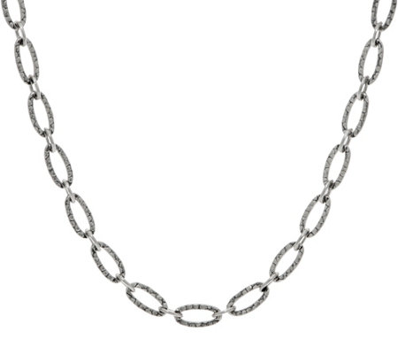 "American West Sterling Silver Hammered 18"" Oval Link Necklace"