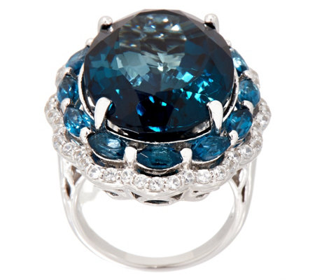 London Blue Topaz Oval Cut Bold Ring, Sterling Silver