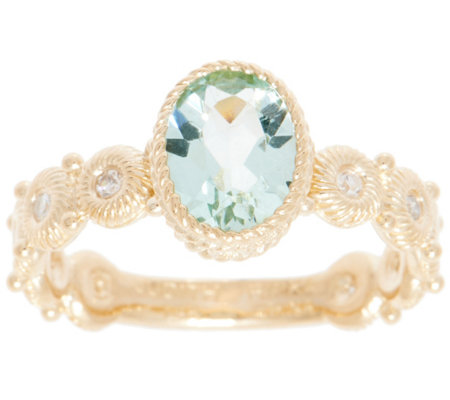 Judith Ripka 14K Gold Green Beryl & Diamond Ring