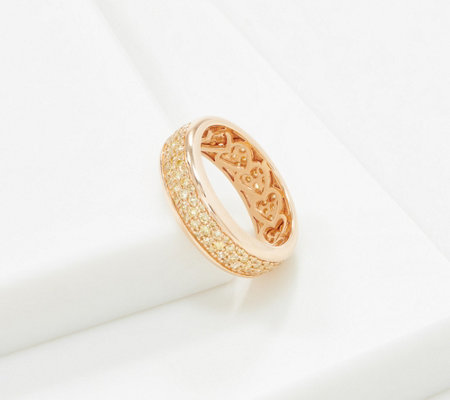 Affinity 14K Gold Pave' Natural Yellow Diamond Band Ring