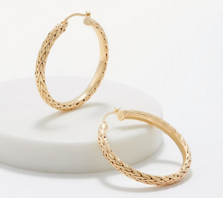 "14K Gold 1-1/2"" Wheat or Polished with Rope Border Hoop Earrings"