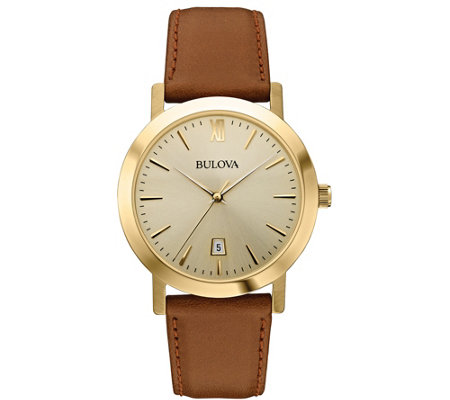 Bulova Men's Stainless Steel Goldtone Leather Strap Watch