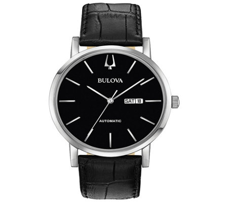 Bulova Men S Classic Automatic Black Leather Strap Watch