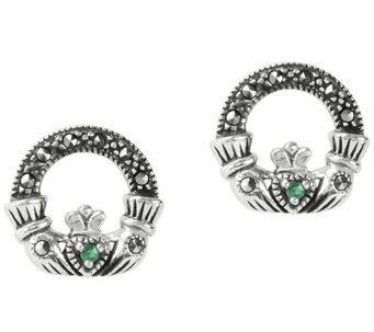 Suspicion Sterling Emerald & Marcasite CladdaghEarrings - J385137