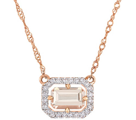 14K Gold 0.55 cttw Morganite & Diamond Accent Halo Necklace