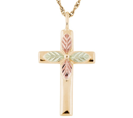 Black Hills Gold Cross Pendant w/ Chain, 10K/12K Gold
