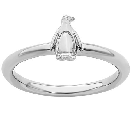 Simply Stacks Sterling Penguin Ring