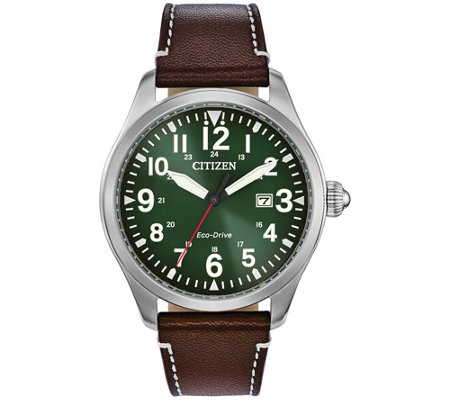 Citizen Eco-Drive Men's Green Dial Leather Strap Watch