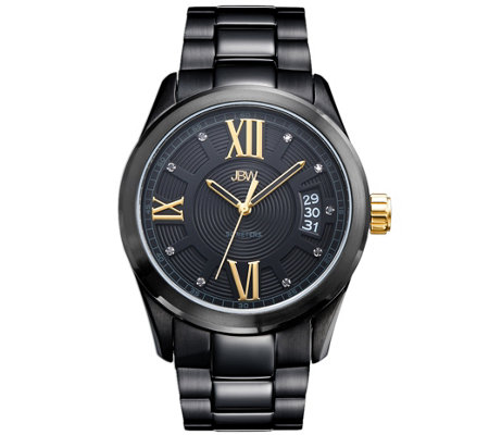 JBW Men's Bond Black Ion-Plated Stainless Diamond Watch