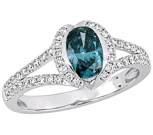 Affinity 14K 1.30 cttw Blue & White Diamond Halo Ring