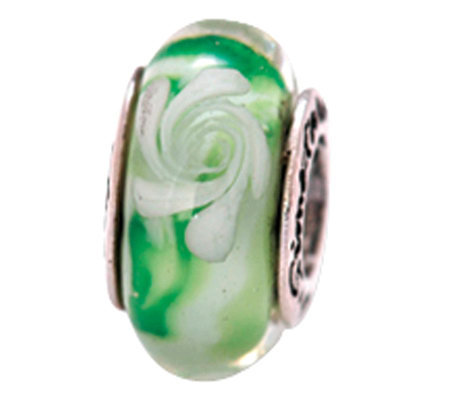 Prerogatives Sterling Green and White Swirl Glass Bead