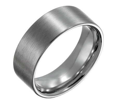 Forza Men's 8mm Steel Flat Brushed Ring