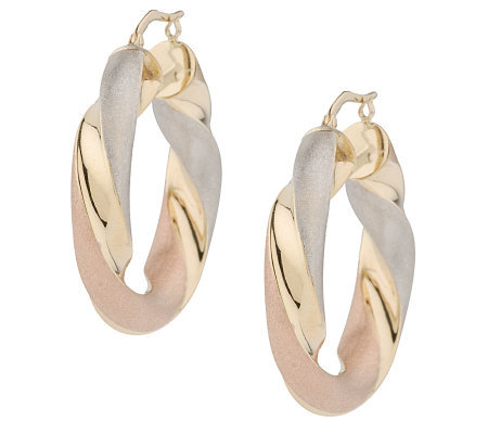 Arte d'Oro Tri-Color Twisted Hoop Earrings, 18K