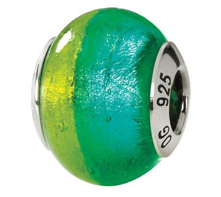 Prerogatives Sterling Green Blue Italian Muranoglass Bead