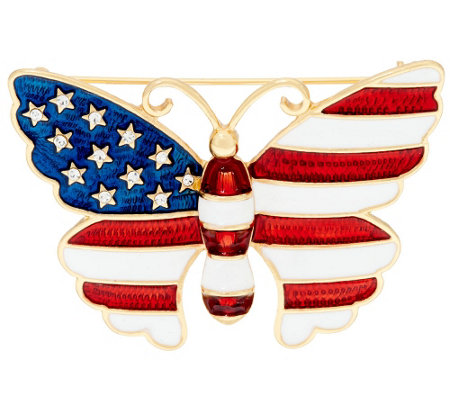Joan Rivers Stars and Stripes Butterfly Pin
